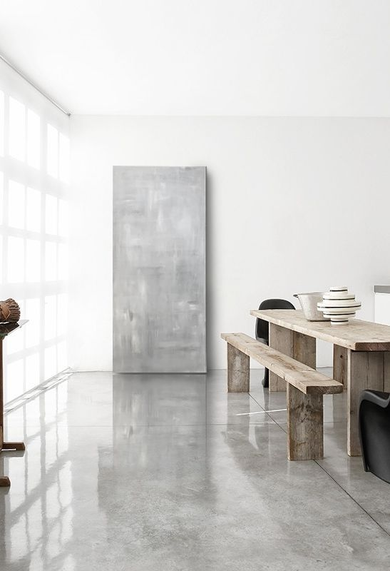 rustic piece on polished concrete floor